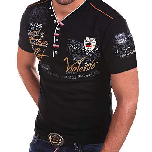 Kragen Qualität Klassisches Hemd (Herren Poloshirt Polo Polohemd Kurzarmshirt Besticken Basic Shirt, T Shirts Männer Coole Print Sweatshirt Slim Fit (Schwarz, XXL))
