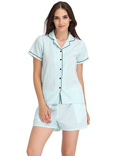 Clovia Women Checked Shirt & Shorts Set