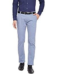 HANCOCK Blue & Grey Self Design Checked Stretchable Mid-Rise Slim Fit Chinos-2114blue