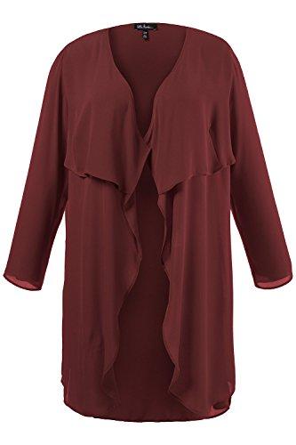 Ulla Popken Femme Grandes tailles Femmes Mode Veste légère de Printemps/ été Slim Fit manches Longue tendance 706187 rouge carmin