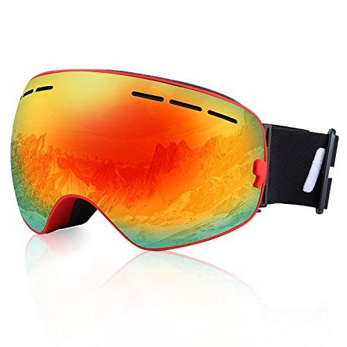 Hicool pro unisex maschera snowboard per sciare, occhiali da sci con lente specchio staccabile, grandangolare, lente sferica ampia visione, protezione uv, anti-fog per adulti(rosso/rosso)