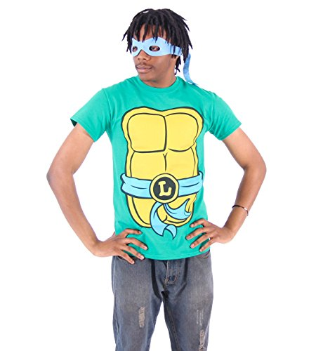 TMNT Teenage Mutant Ninja Turtles Leonardo Kostüm Grün Erwachsene T-shirt Tee (Turtles Shirt Kostüme Ninja)