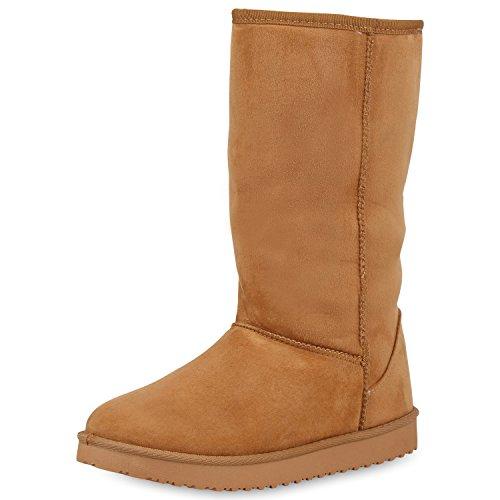 SCARPE VITA Damen Schlupfstiefel Warm Gefütterte Stiefel Profil Winter Boots 152447 Hellbraun 38