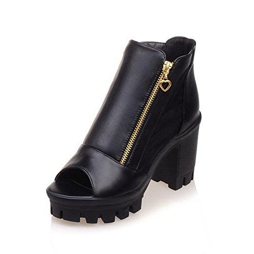 De Senhoras Cabeça Peixe Sapatos Alto Voguezone009 Salto Sandálias Macios Materiais Preto De Zipper xwZSCx4Bq
