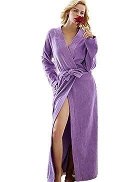 DMMSS Primavera e autunno signora pigiama cotone camicia da notte lunghe accappatoi , s , purple calf