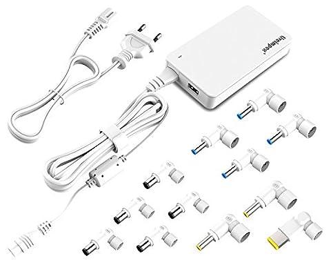 Chargeur Alimentation universel de 90W pour les ordinateurs portables, ordinateurs portables, tablettes et Ultrabooks ACER, Asus, Dell, Lenovo, Samsung, Sony, Toshiba, HP / Compaq | Port USB de charge supplémentaire | Réglage de tension automatique