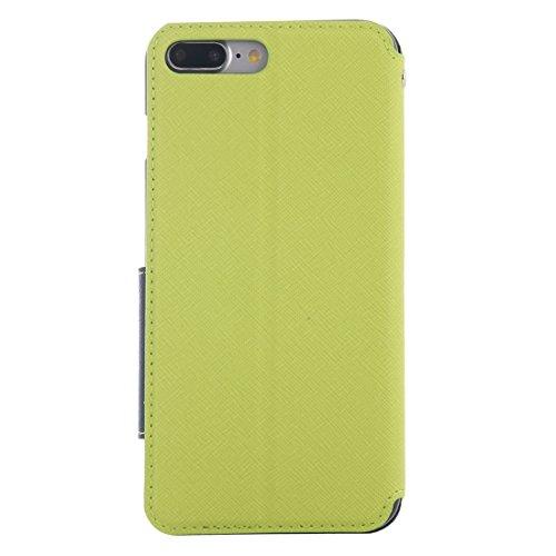 iPhone Case Cover Pour iPhone 7 Plus Cross Texture Boîtier en cuir à fermeture horizontale avec identification d'affichage d'appel et support et fente pour carte ( Color : Dark blue ) Green