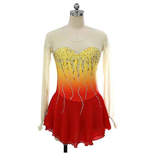 XIAOY Handarbeit Eiskunstlauf Kleid FüR Mädchen Damen Wettbewerb Kostüm Eiskun stlaufk Langärmelige XXXL,Yellow+Red,Customized