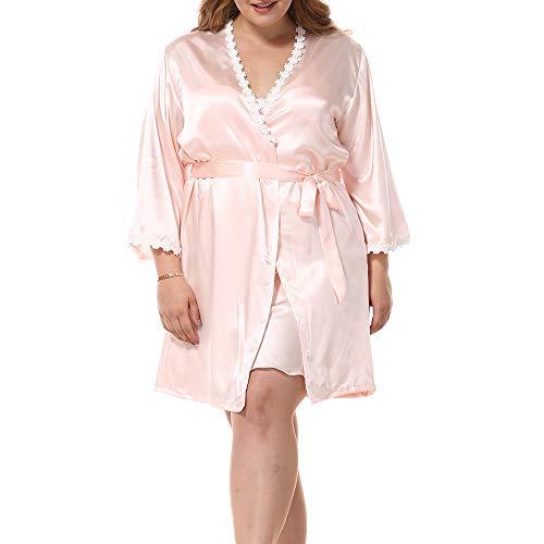 LIUYL Frauen Imitation Silk Bademantel Plus Size Bademantel Sexy Kimono Zweiteilige Nachthemd Langarm Roben Spitze Brautjungfer Nachtwäsche,Pink-XXL