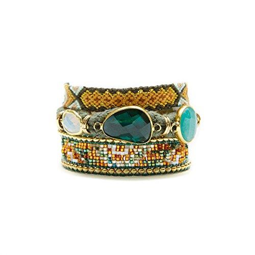 Gioielli-Hipanema-Braccialetto in perle e collegamento cachi, chiusura dorato Hipanema Nashville-dimensioni: M