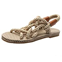 Tomatoa Flat Sandals Women,Casual TPR Insole Cushioning Sandals Rome Hemp Rope Cross-Tie Weaving Shoes Comfortable Elastic Band Low Heel Slippers Peep Toe Beach Shoes Outdoor Daily Walking Beige