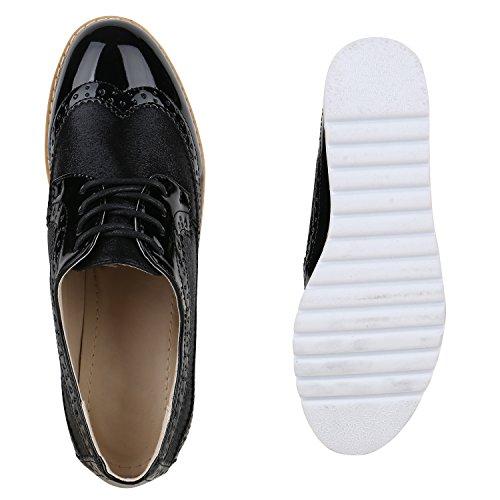 Stiefelparadies , Chaussures de ville à lacets pour femme Schwarz