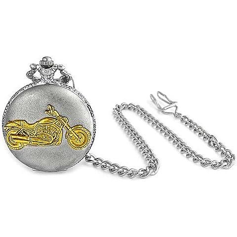 Bling Jewelry Reloj de Bolsillo para Hombre Estilo Vintage Dos Tonos Chapado en Plata y Oro Diseño de