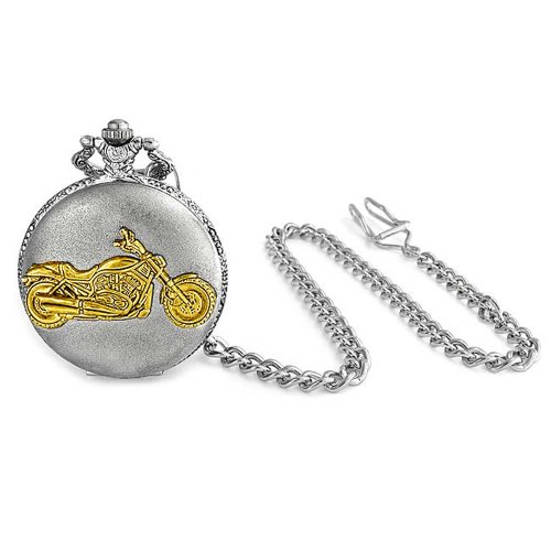 Bling Jewelry Antique Style Motorcycle Biker Two Tone Silver and Gold Plating Mens Pocket Watch (Antique Pocket Silver)