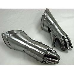 NAUTICALMART Guantes con dedos medievales de acero, pieza para utilizar