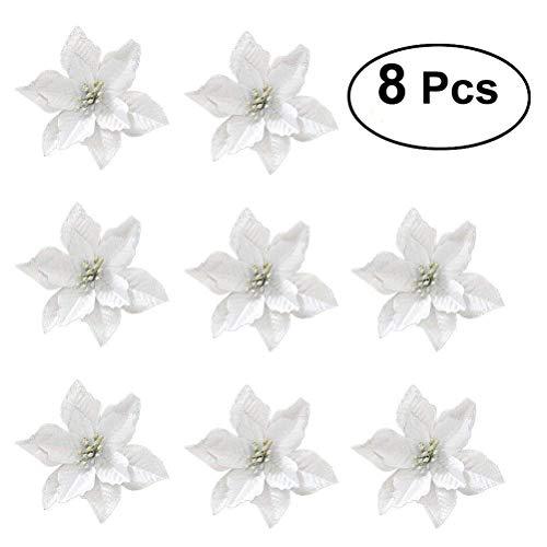 Fiori per albero di natale oulii fiori artificiali per la decorazione alberi e girlanda natale in argento (8pcs)