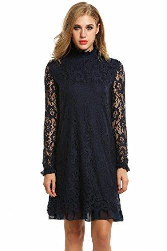 Zeagoo Damen Elegant Spitzenkleid Cocktailkleid Abendkleid Festliches Kleid Langarm Knielang Blau M