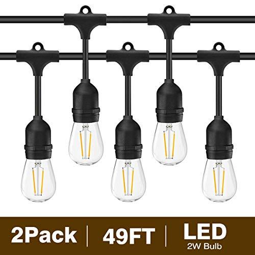 Svater S14 Lichterkette Glühbirne LED Retro, 2x15 Meters IP65 Wasserdicht, 2x15 Hängende Sockel, 2x15 2W LED Birnen E27 auf Warmweiß 2700K Beleuchtung für Innen- und Außen Deko Garten ()