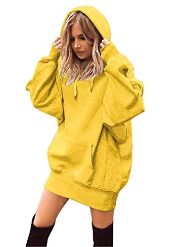 Minetom Femme Mini Robe Pull Sweat À Capuche Casual Manches Longue Kangourou Poches Automne Hiver Mode Lâche Blouson Tunique Tops A Jaune 42