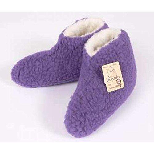Bettschuhe Wolle, 100 % Schurwolle i.F., Farbe Lila, Größe 38-39, 12010106702