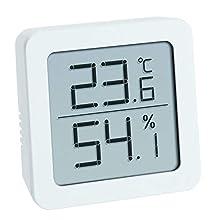 TFA Dostmann Digitales Thermo-Hygrometer Termoigrometro Digitale da appoggiare o Appendere, Controllo del Clima, Bianco, L70 x B35 x H110 mm