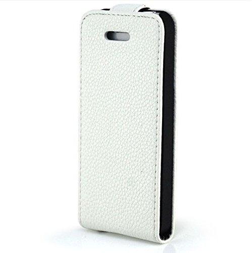 Saxonia Apple iPhone SE 5 5S Hülle Flip Tasche Case Hülle Schutzhülle Magnetverschluss Schwarz-Braun Stand Case Weiß