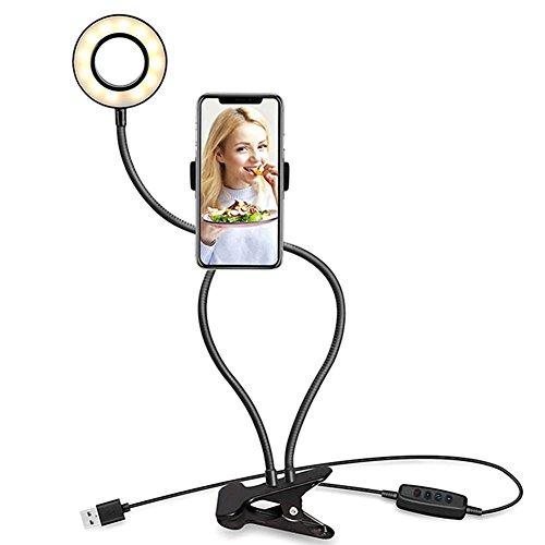 Cutogain Selfie Ring Light Halterung Ständer für Live Stream Make-up Halterung Halter Klemme Clip auf Schreibtisch LED-Lampe