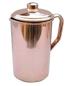 KaBi Aqua Copper Jug with Lid, 1.6 Litres, Reddish Brown