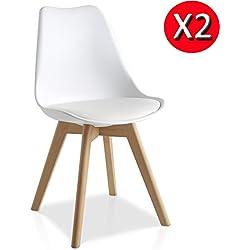 Pack 2 sillas Lucia Blanco con pata madera y asiento alcolchado