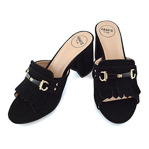 ESSEX GLAM Donna Tacco a Blocco Fibbia Scivolare su Peep Toe Finto Scamosciato Sandalo Nero Finto Scamosciato