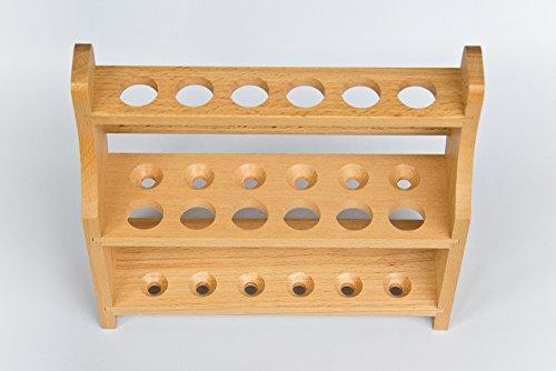 SCHWEFELFADEN Reagenzglasständer für 12 Reagenzgläser bis 18 mm Durchmesser, Reagenzglasgestell aus lasierten Holz