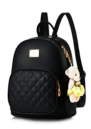 TYPIFY® PU Leather Teddy Keychain Stylish and Trending High Quality Women Backpack for College Office Bag Girls Handbag Purse (Black)