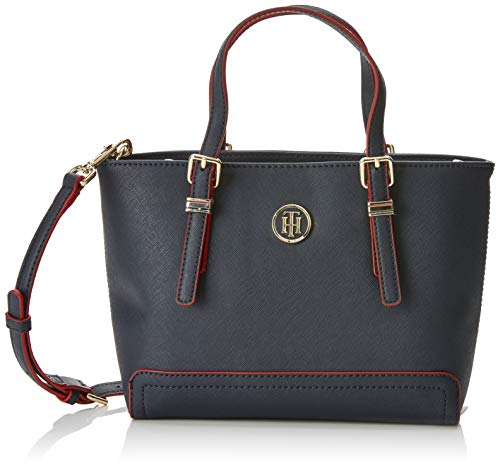 Tommy Hilfiger Damen Honey Small Tote, Blau Navy/Red Paint, 9.5x19x27 cm
