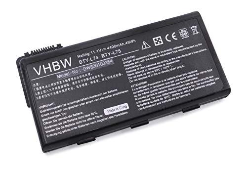 vhbw Batterie Li-ION 4400mAh 11.1V en Noir Convient à MSI CX500-432UA etc. remplace BTY-L74, BTY-L75, MS-1682, S9N-2062210-M47