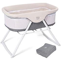 GOPLUS Berceau Bébé,Berceau Pliable,Lit bébé,avec un Sac et Matelas Rembourée - 94x56x70cm - Beige Gris