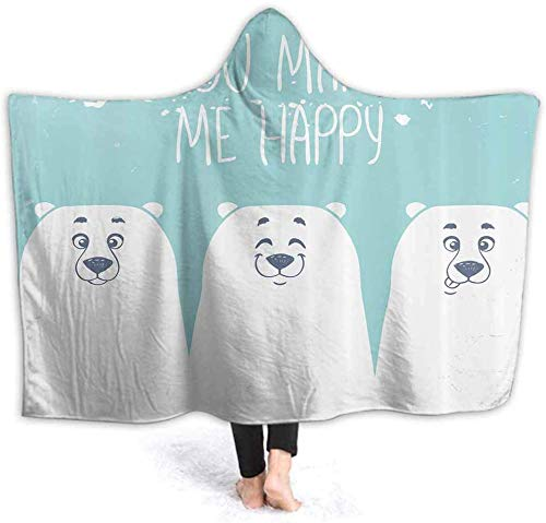IUJL Manta con Capucha Hooded Blanket Soft Sherpa Fleece Blankets Quote Cartoon Bears Wearable Blanket with Hood for Studying Reading Office 50W by 40H Inches(with Hooded)