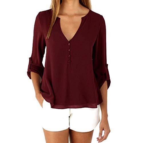 B-COMMERCE Damen Chiffon Bluse V-Ausschnitt Henley Shirt Casual Langarm Oberteile S-XXXL -