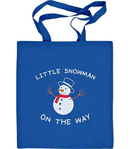 Little Snowman On The Way Schwangerschaftsmode Jutebeutel Baumwolltasche Blau