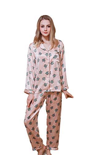 Reiner Seide Schlafanzug Pajama Sets Langarm Schoenes Geschenk Rosa S -