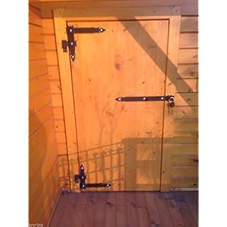 2 Winkelbänder mit Türriegel, Winkelband, Türband 600 x 340 x 50 mit Kloben 16 m