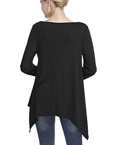 Donna Camicetta Maglia Maglietta Manica Lunga Casual Elegante V-Collo Nero