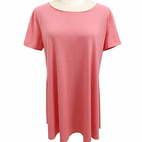 EMMA Damen Casual Rundhals kurzarm Loose Fit einfabrige Baumwolle T-Shirts Sommer Kleider Rot Wassermelone
