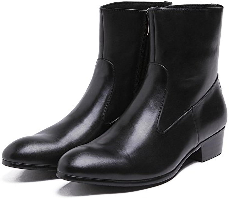 Liyanqin Herren Casual Motorrad Cowboy Stiefeletten mit Reißverschluss Atmungsaktiv Business Schuhe (24cm 27cm)Liyanqin Stiefeletten Reißverschluss Atmungsaktiv 24cm 27cm