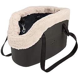 Feplast 79515017 Bolsa para Perros with-Me Winter, Eva con Revestimiento de Piel Sintética, Asas Regulables, Correa de Seguridad Incluida, 21.5 x 43.5 x H 27 Cm Negro
