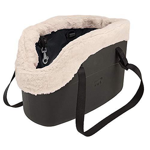 Ferplast 79515017 Hundetragetasche with-Me Winter, aus innovativem Eva Gummi, Mit Felleinsatz, 21,5 x 43,5 x 27 cm, schwarz (Vinyl-hundebox)