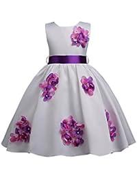 VLUNT Vestido de Fiesta con Flores sin Mangas para Niña - Blanco, 3-16
