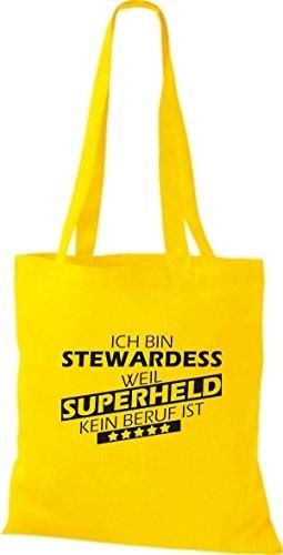 Shirtstown Stoffbeutel Ich bin Stewardess, weil Superheld kein Beruf ist gelb