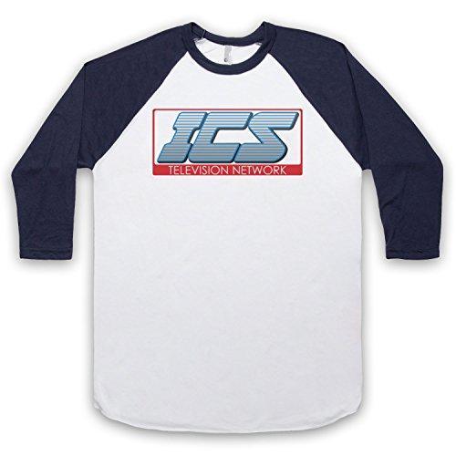 Inspiriert durch Running Man ICS Televison Unofficial 3/4 Hulse Retro Baseball T-Shirt Weis & Ultramarinblau