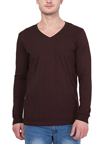 Unisopent Designs Men's V-Neck Long Sleeve Cotton T-Shirt [Brown_Large]