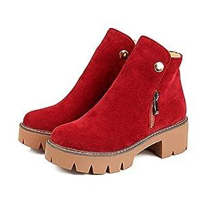 FMWLST Stiefel Damen Stiefel Winter Plateaustiefel Quadratische Ferse Stiefel Winter Warme Rutschfeste Stiefel